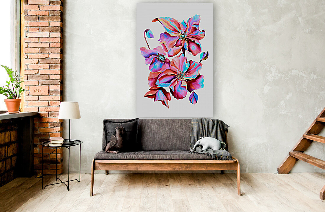 Himalaya Hot Fushia Poppies  Art
