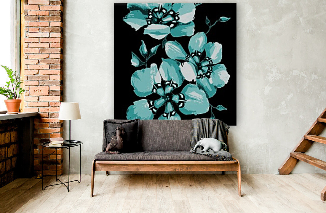Harmonious Artdeco Floral Pattern  with Floating Frame