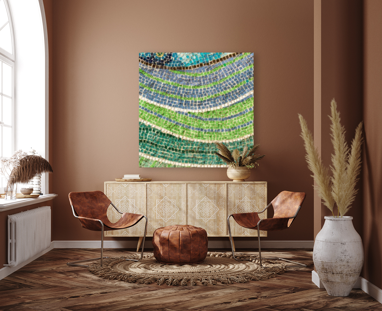 Tessellated Abstracts and Impressions - Free Form Meadows and Flowerbeds in Green and Blue  Art