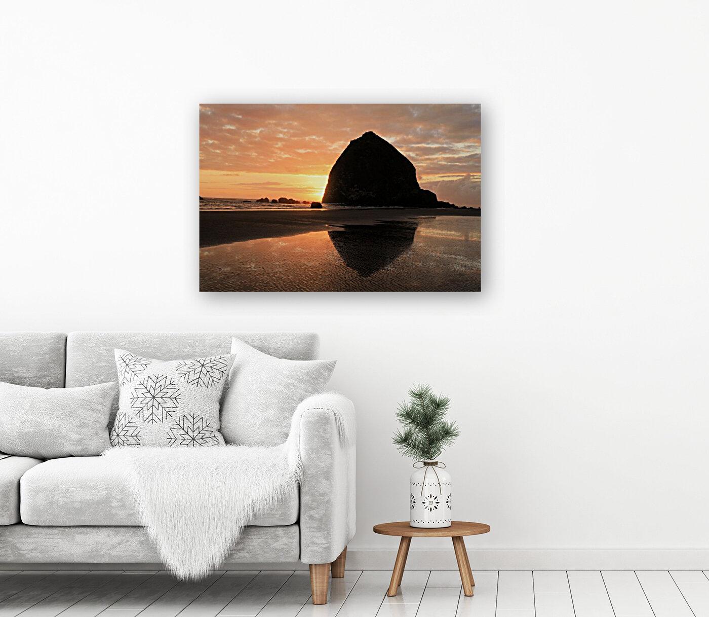 Haystack Rock at Sunset  Art