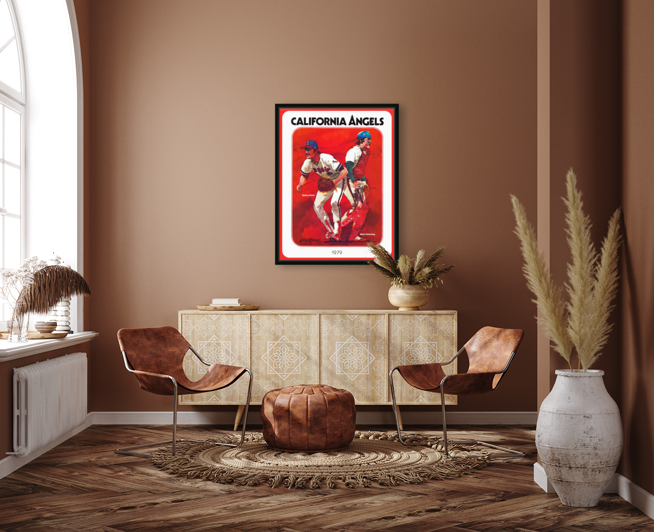 retro california angels poster baseball art row one (1) with Floating Frame