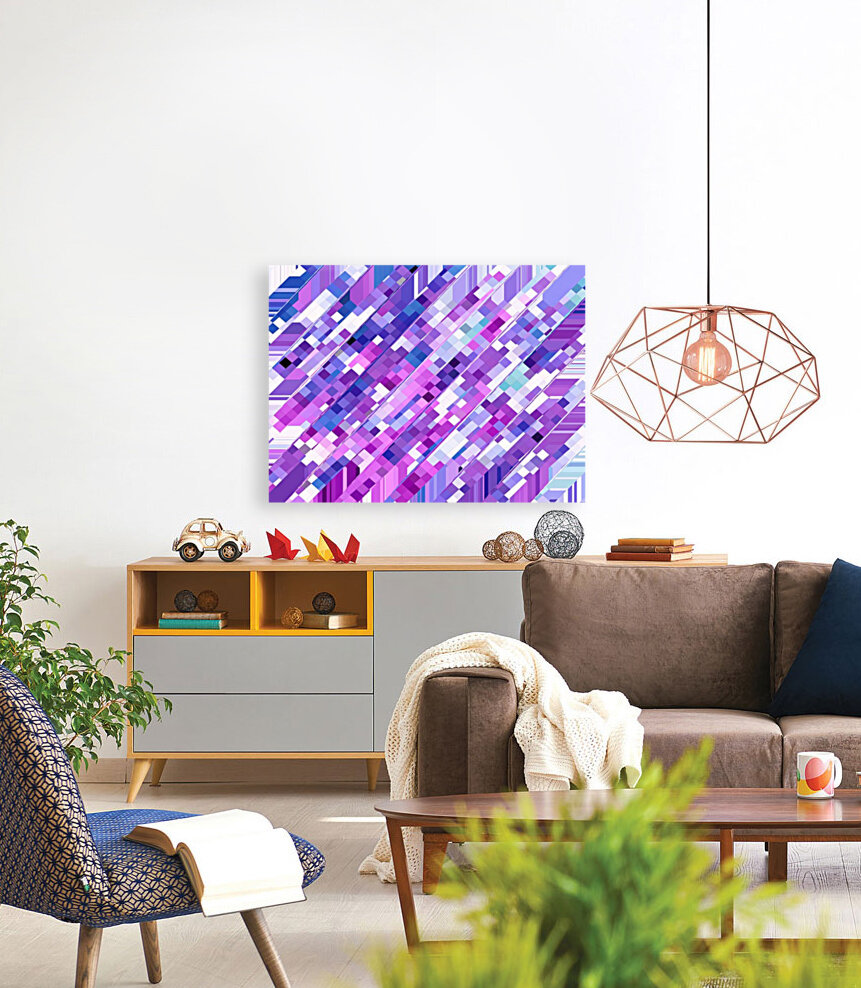 geometric square pixel pattern abstract background in purple pink  Art