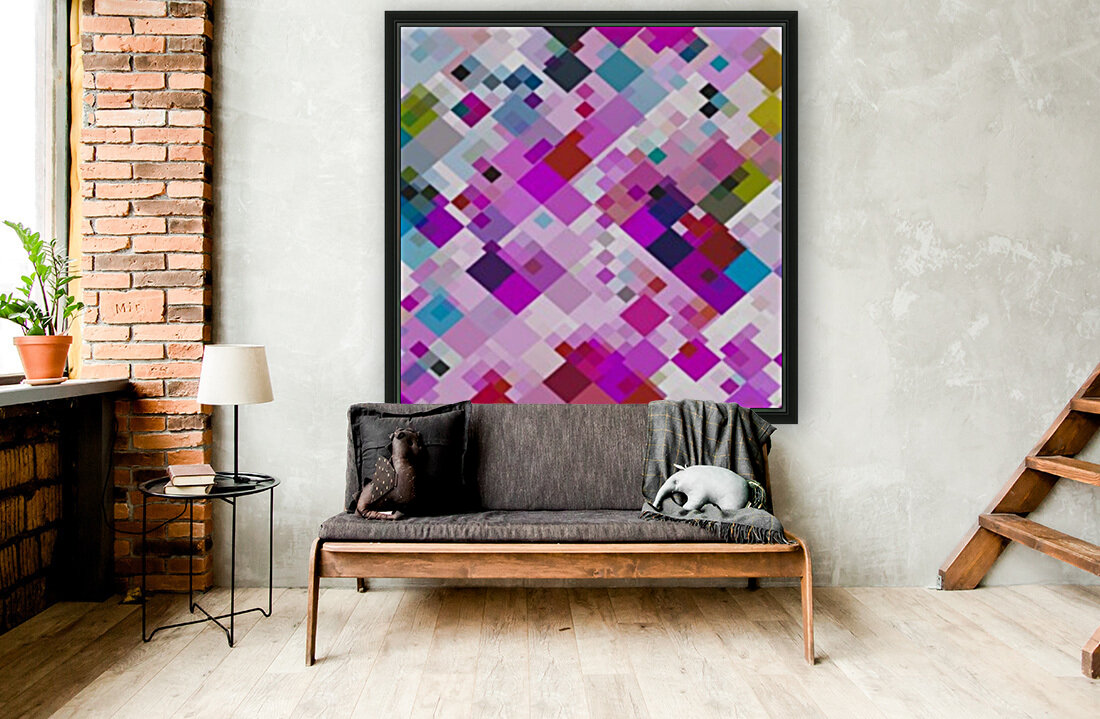 geometric square pixel pattern abstract background in pink blue yellow  Art