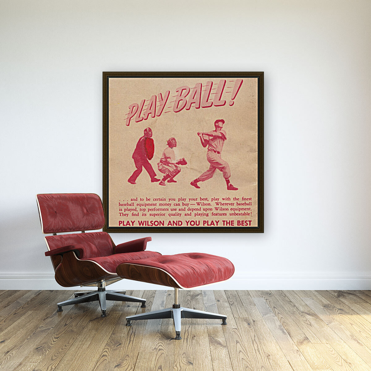 1951 vintage wilson baseball ad play ball with Floating Frame