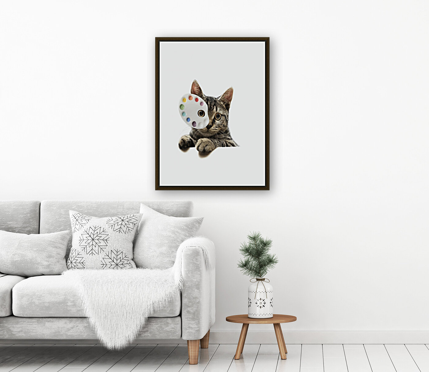 Cat Art with Floating Frame