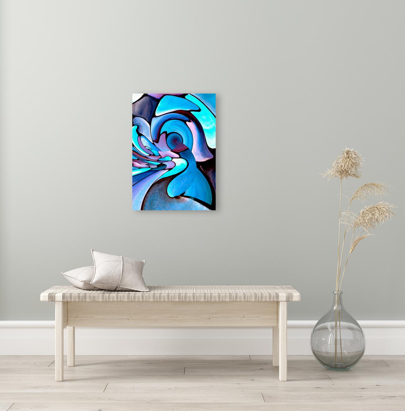 Twisted Splash of Blue Shapes   Art