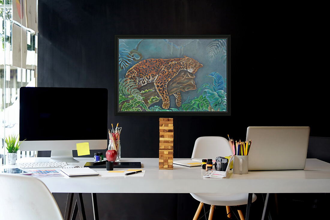 Gorgeous leopard resting in the jungle during the day  Art