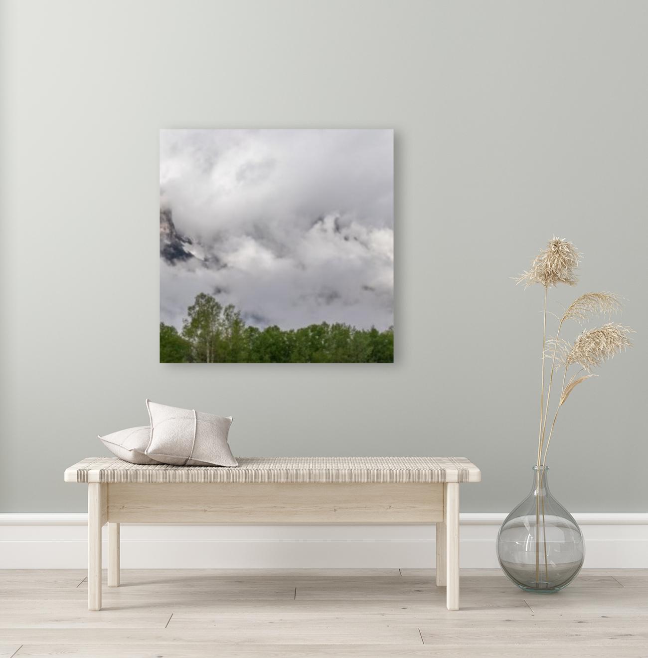 Billowy Clouds Surround Rundle Mountain  Art