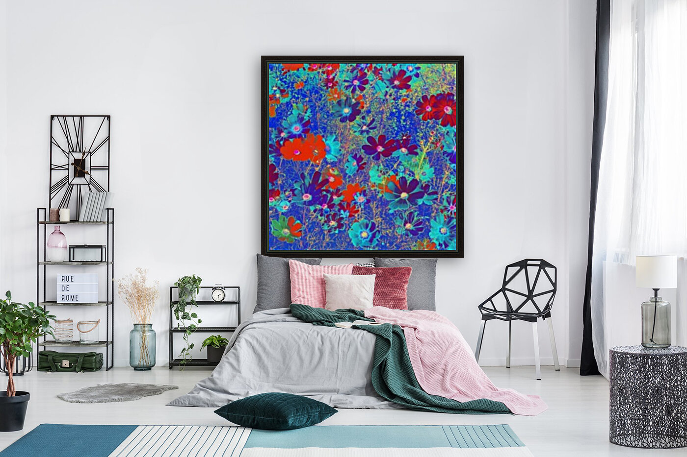Cosmos Flowers Blue Red  Art