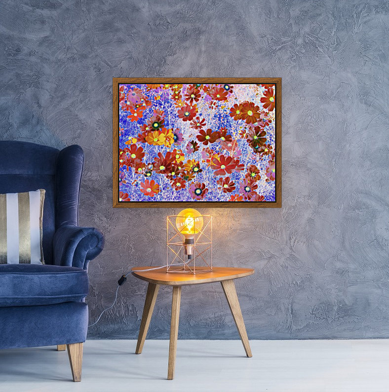 Cosmos Flowers Brown  Art