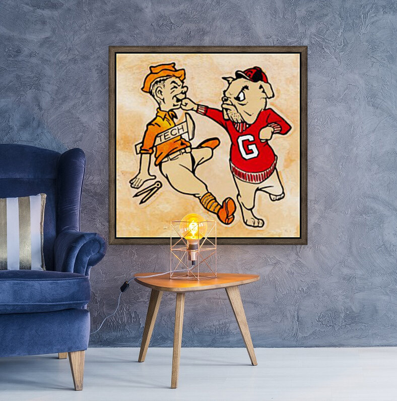 Vintage Georgia Bulldog Punching Tech Engineer College Canvas Print Wood  Art
