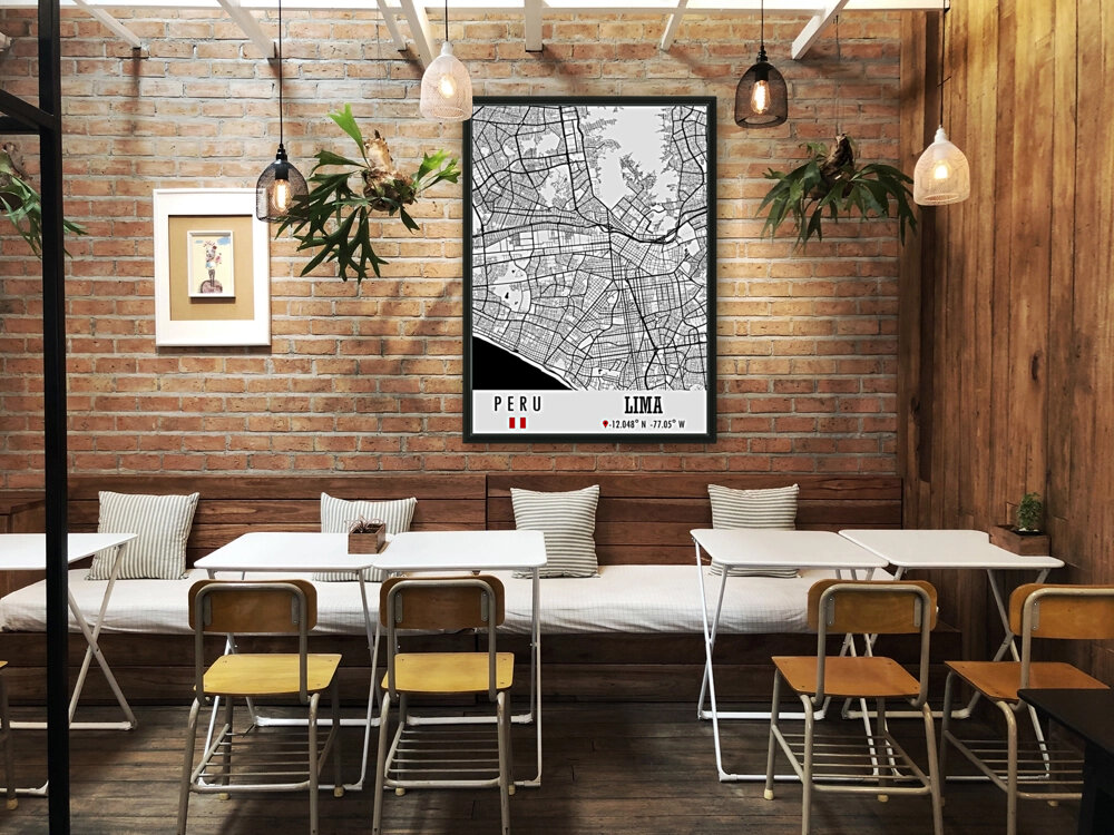 Lima PERU Map with Floating Frame