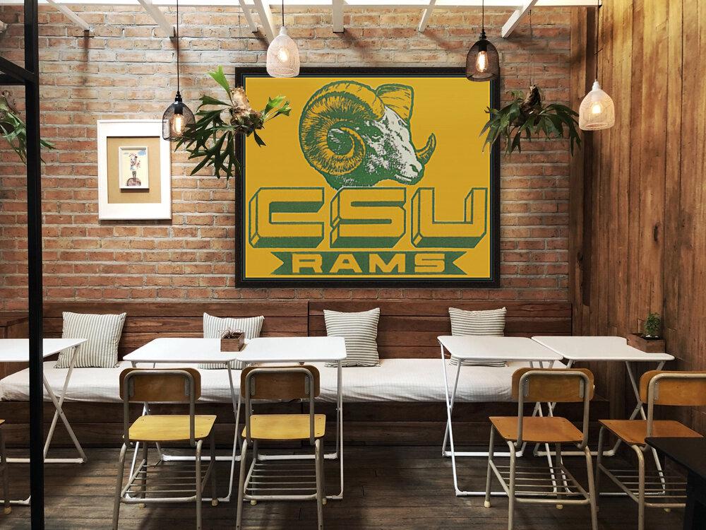 vintage colorado state university rams wood sign  Art