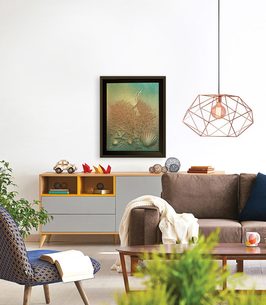 Coral Image Art with Floating Frame
