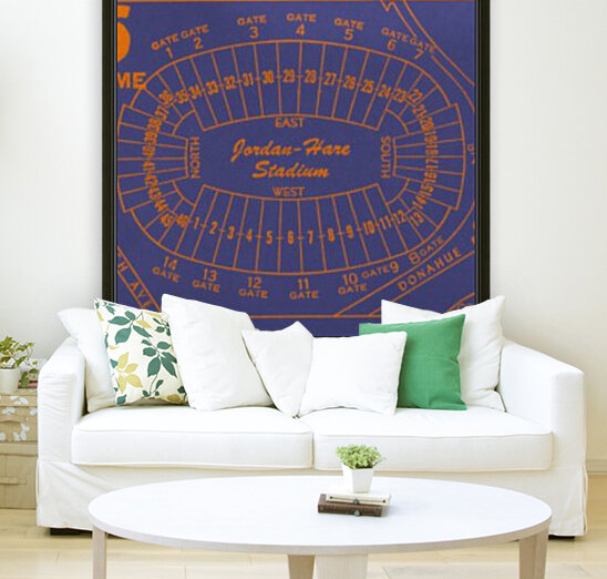 1979 Auburn Tigers Jordan Hare Stadium Map with Floating Frame