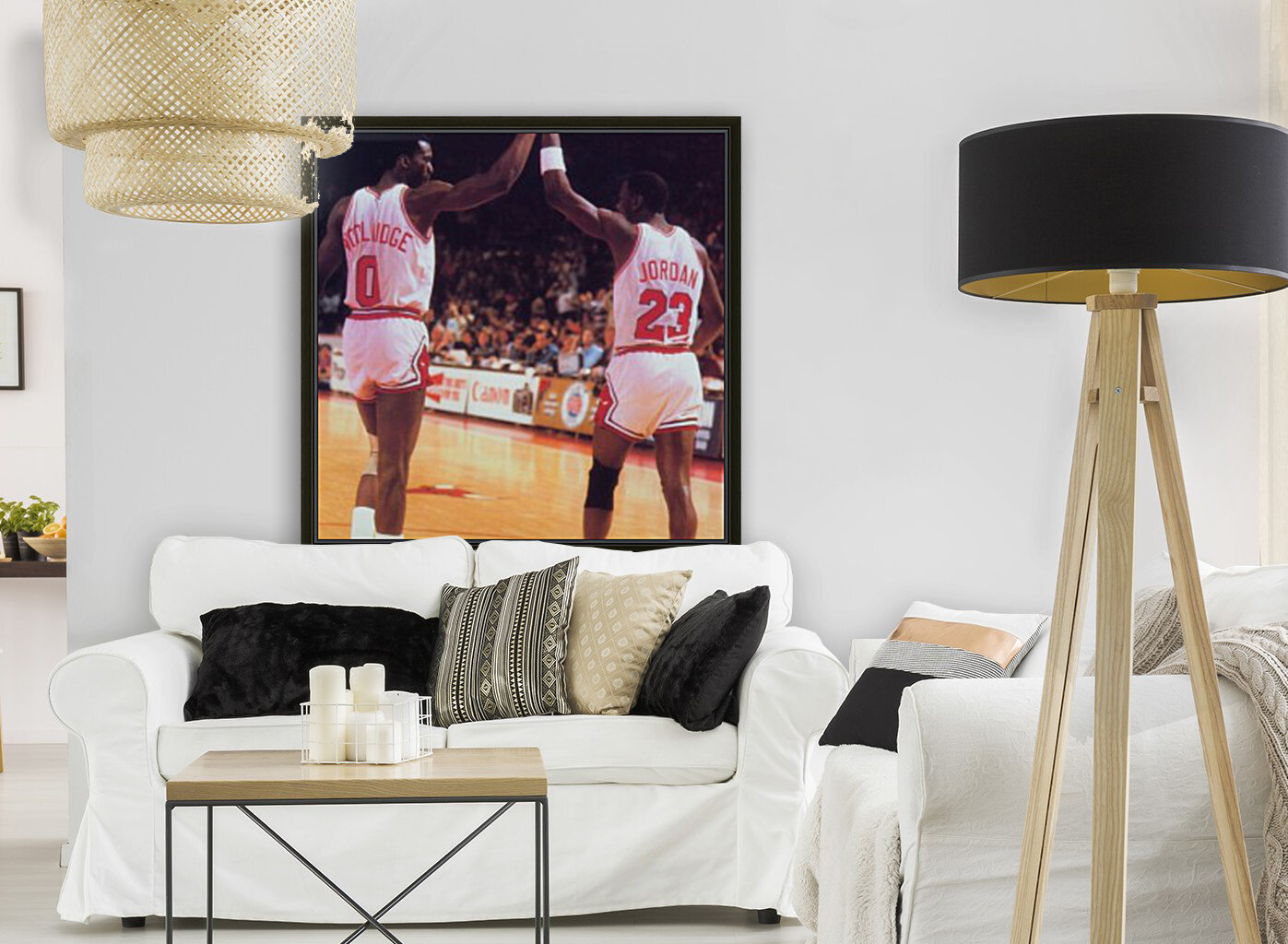 1985 Bulls High 5 Poster with Floating Frame