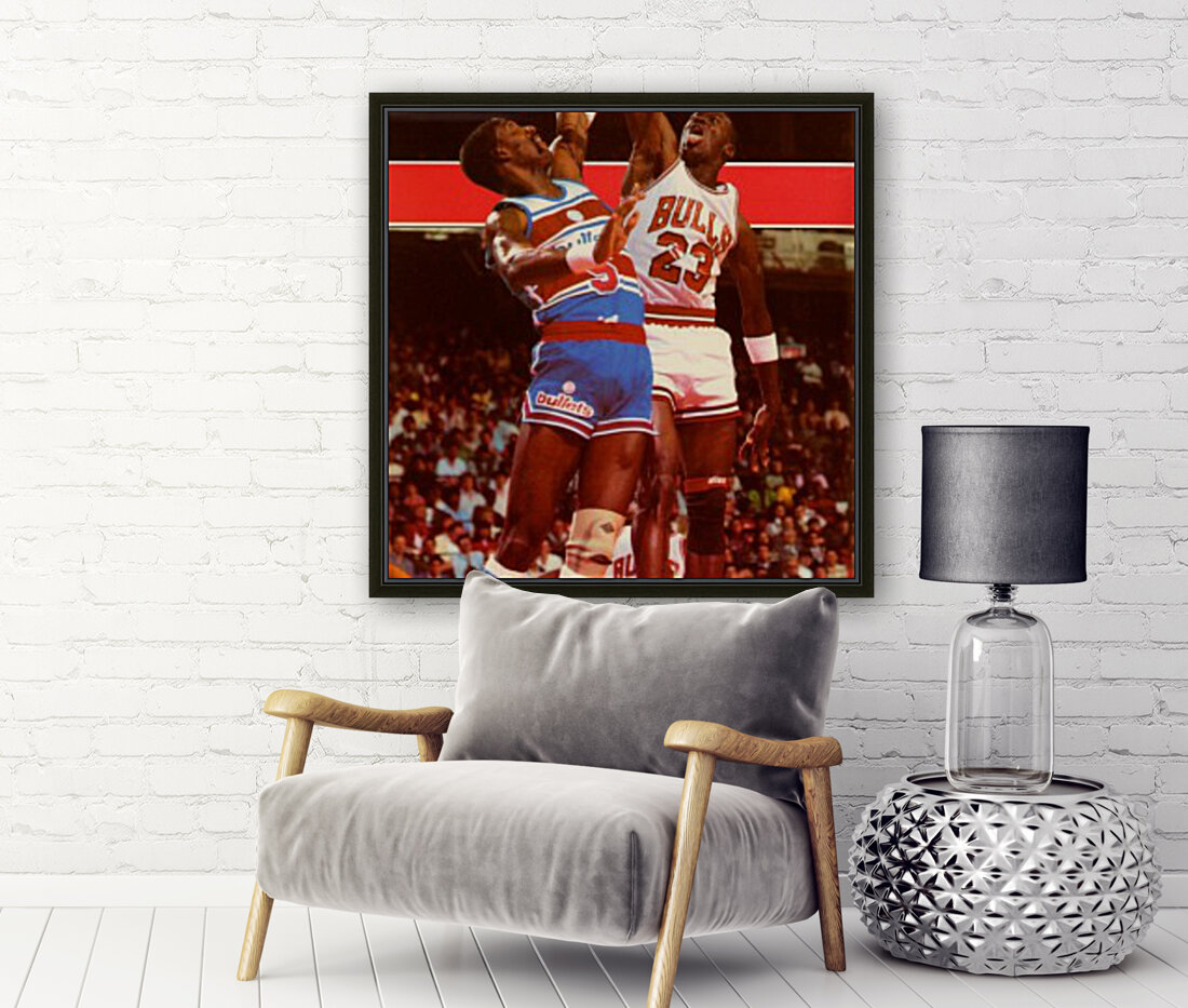 1985 Michael Jordan Dunk Chicago Bulls Poster with Floating Frame
