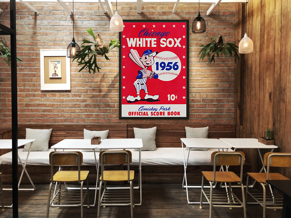 1956 chicago white sox score book canvas with Floating Frame