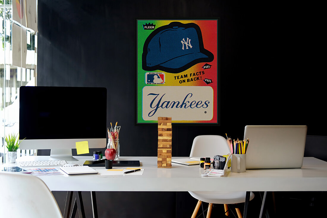 1982 fleer sticker new york yankees hat with Floating Frame
