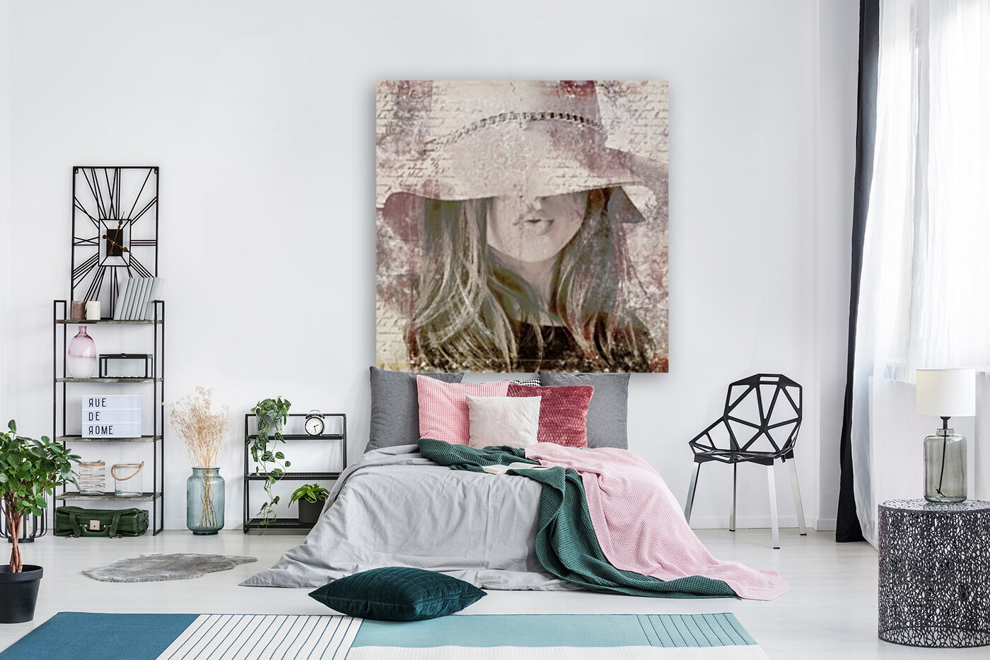 Lovely Girl with Hat on Vintage paper  Art
