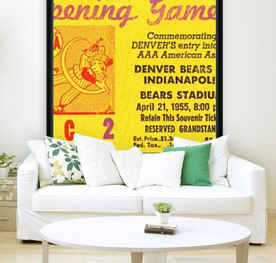 1955 aaa baseball denver bears opening game baseball ticket stub frame canvas  Art
