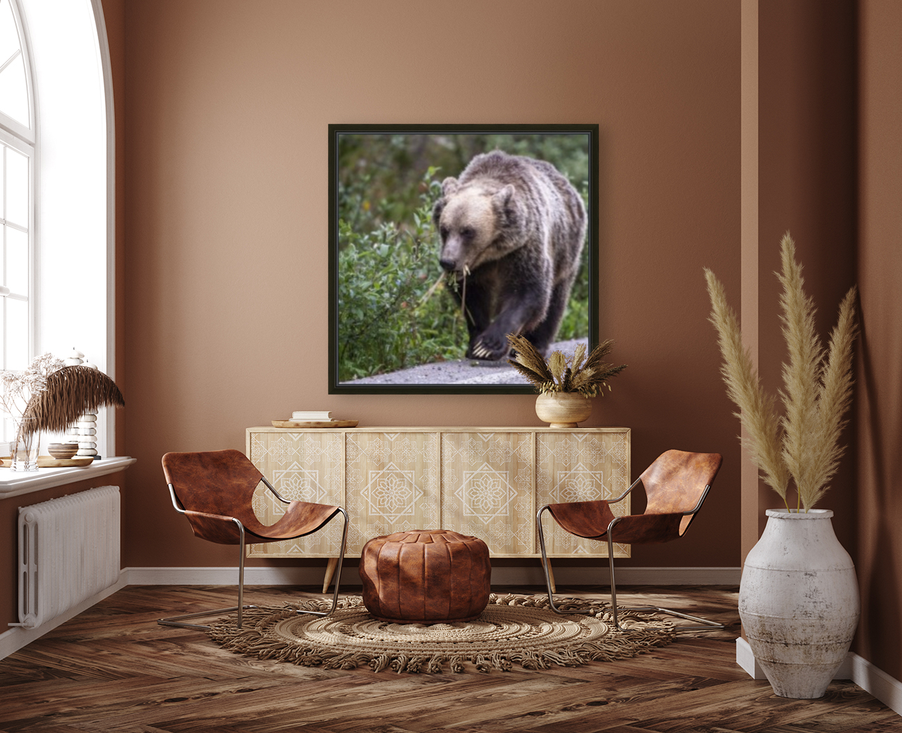 0037 - Grizzly Bear with Dandelions in Banff National Park Canada.  Art