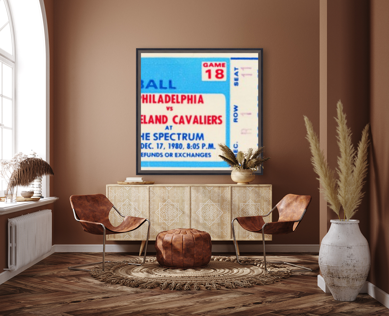 1980 cleveland cavaliers philadelphia 76ers nba basketball ticket art with Floating Frame
