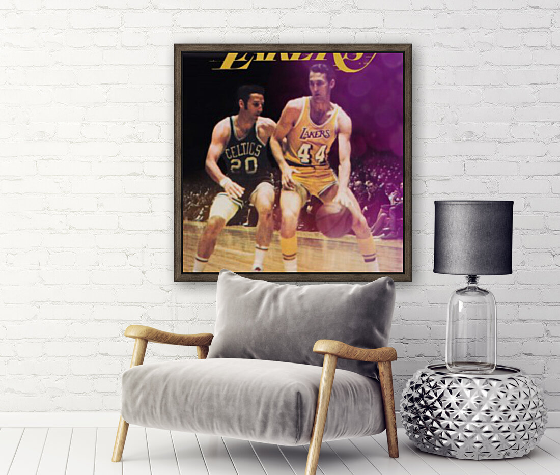 1969 los angeles la lakers jerry west poster with Floating Frame