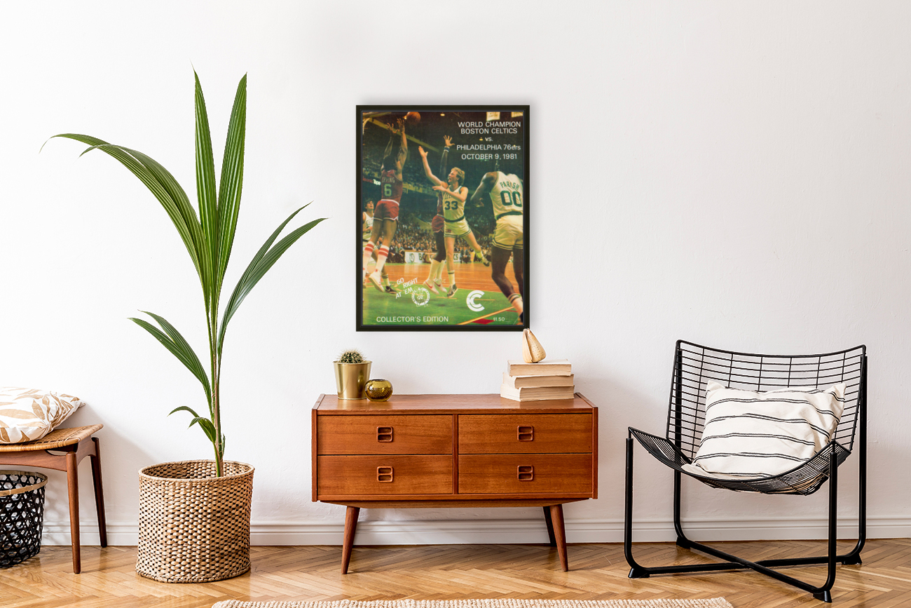 1981 boston celtics philadelphia 76ers larry bird art with Floating Frame