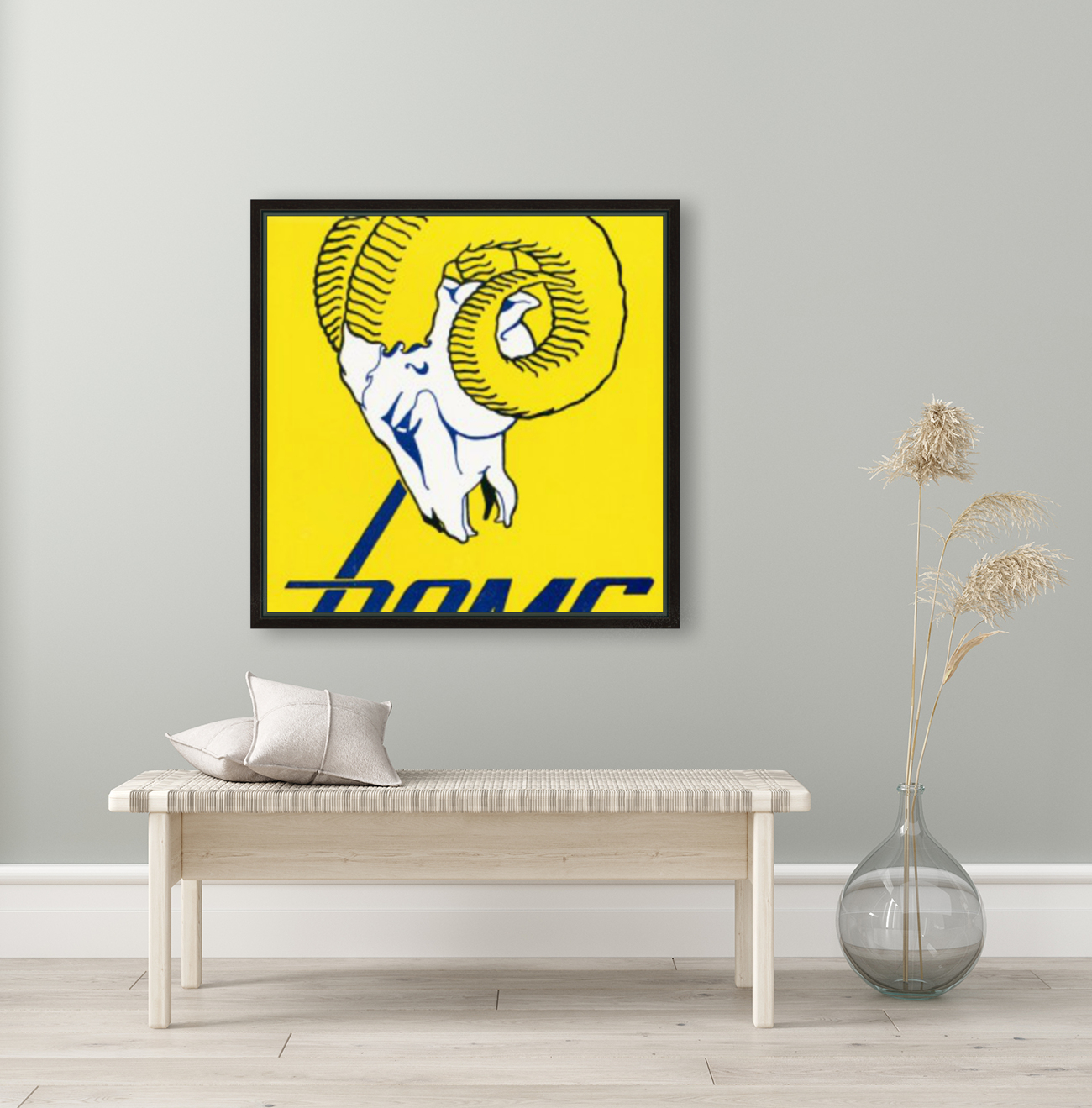 vintage los angeles rams art with Floating Frame