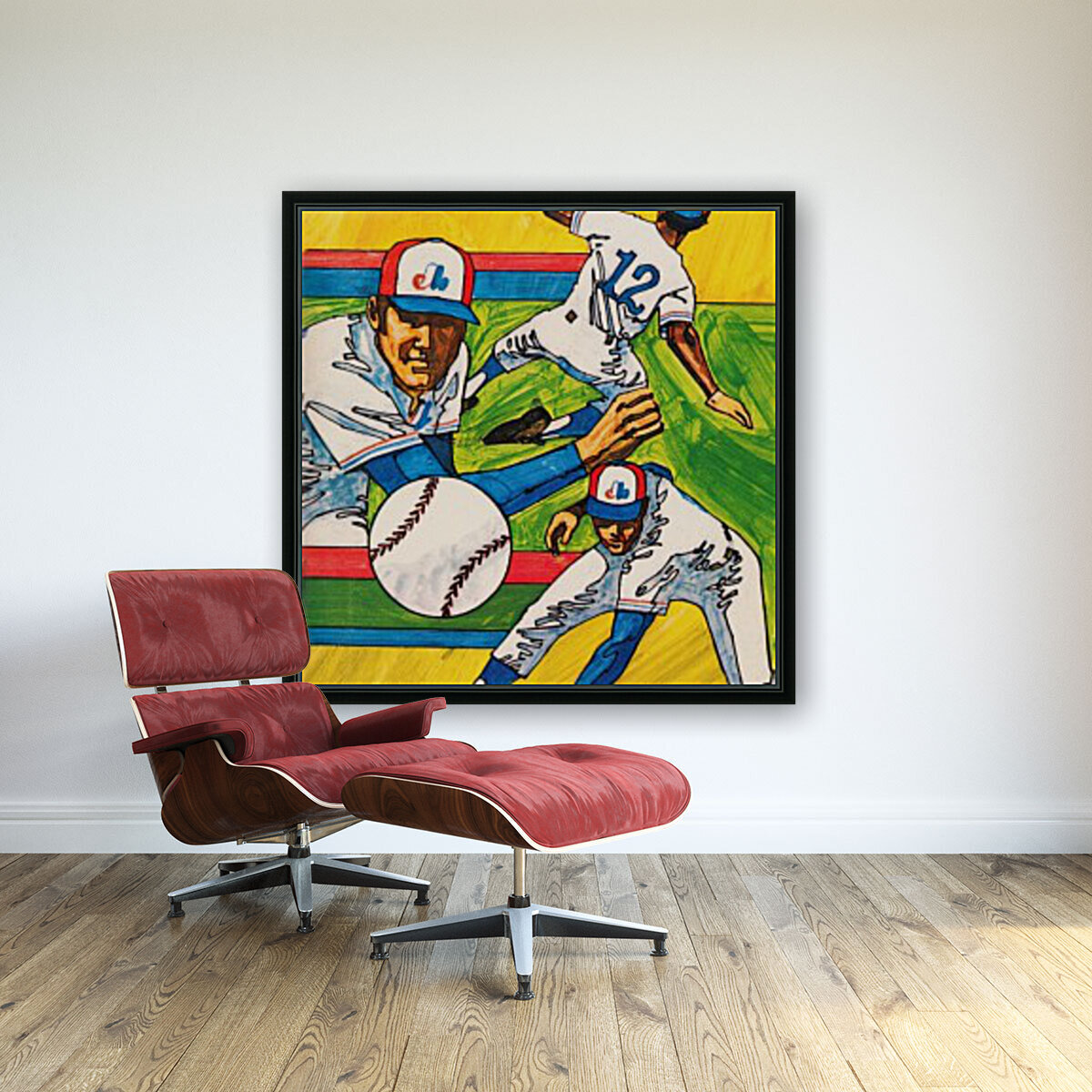 1975 montreal expos baseball art with Floating Frame