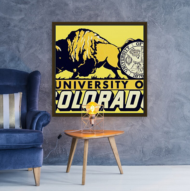 1950s vintage college art university of colorado buffaloes boulder with Floating Frame
