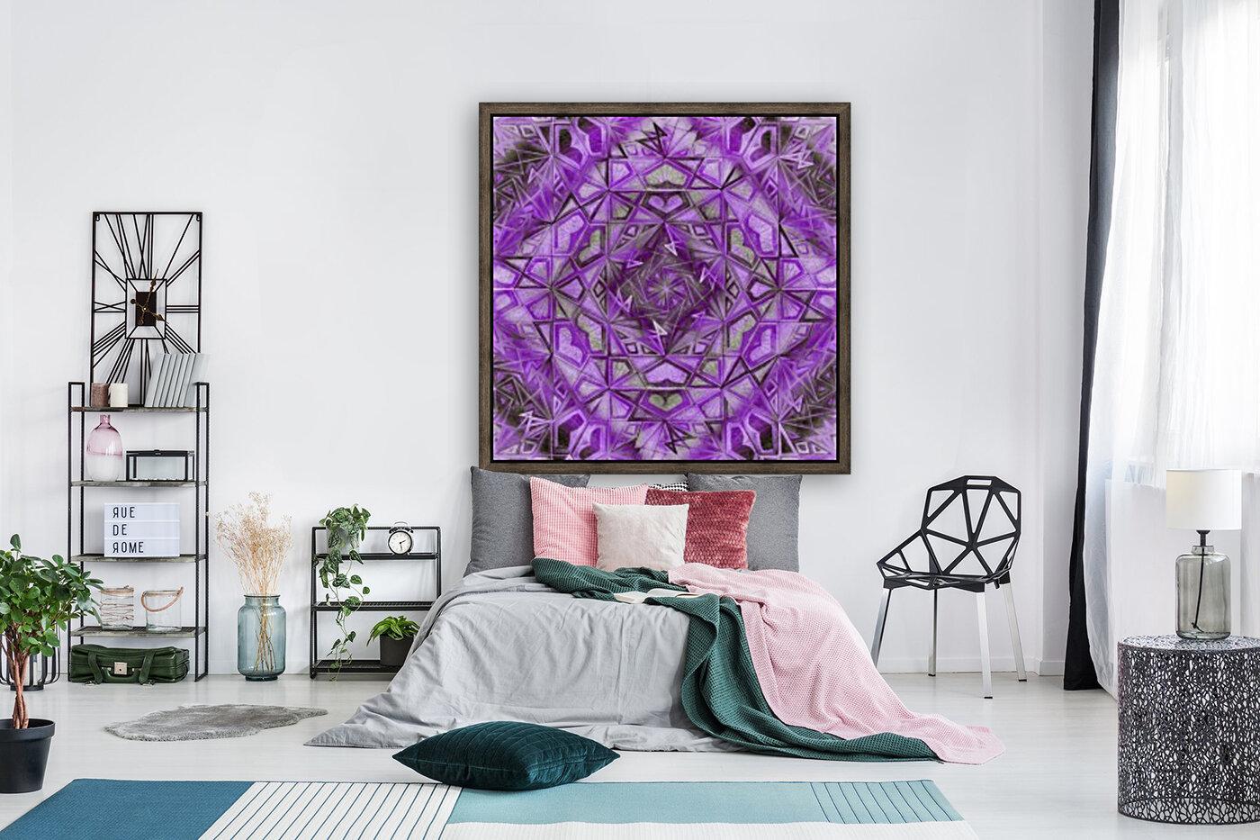 Purple Fractal Kaleidoscope Handdrawing  Art