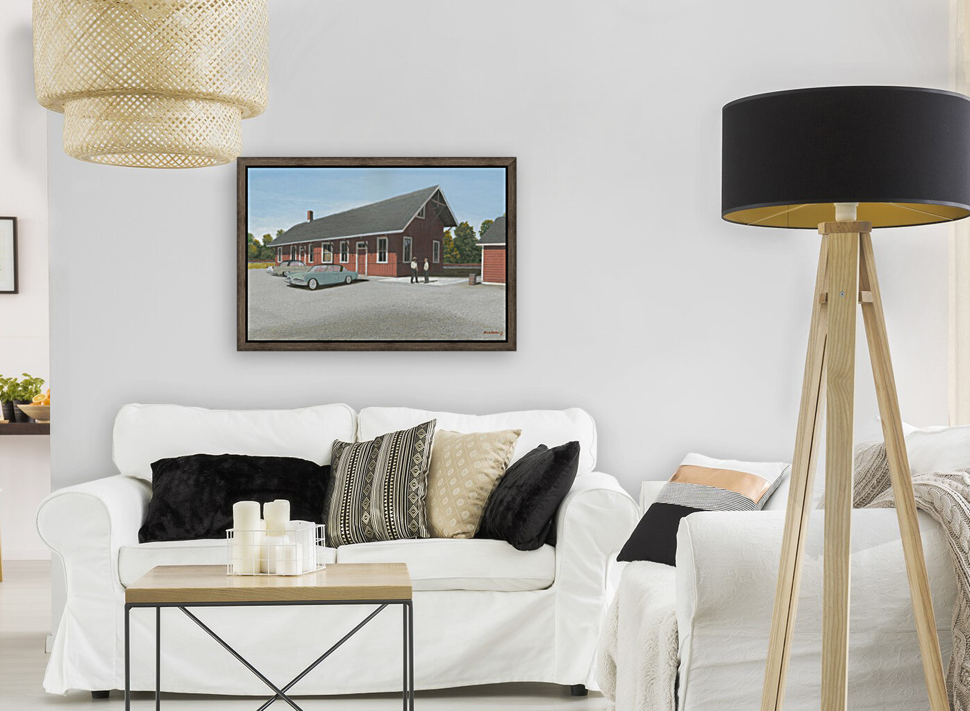 Station Scene - Newtown Series 16X24  with Floating Frame