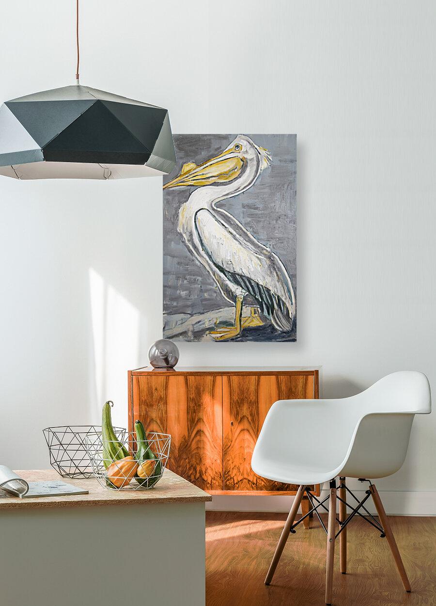 Louisiana White Pelican with Metallic Silver  Art