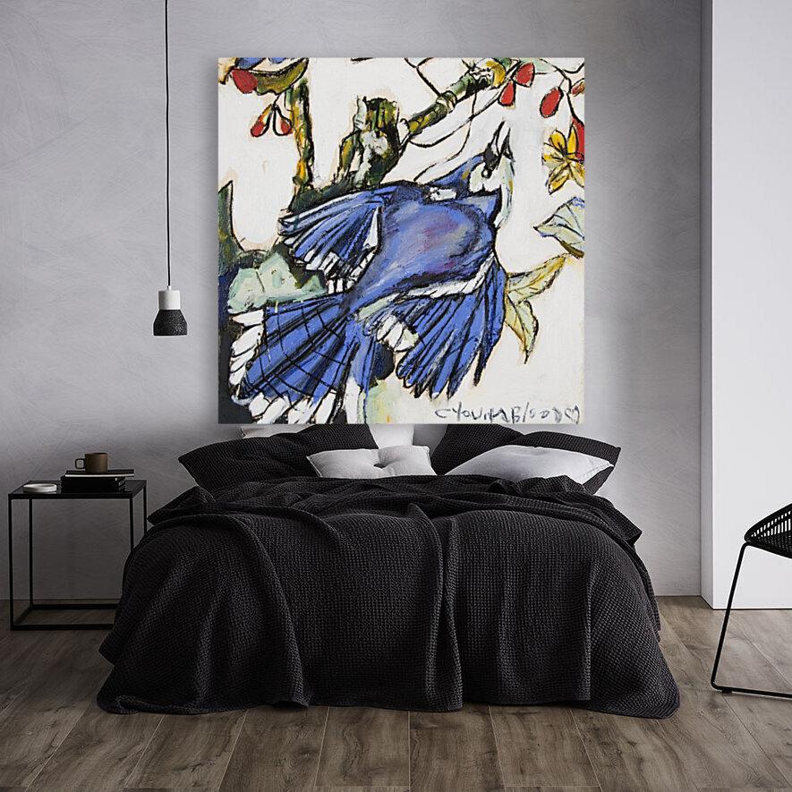 Louisiana Blue Jay Study on Wood  Art