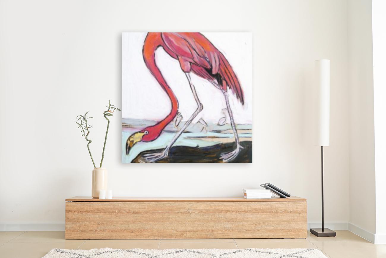 Louisiana Flamingo Study on Wood  Art