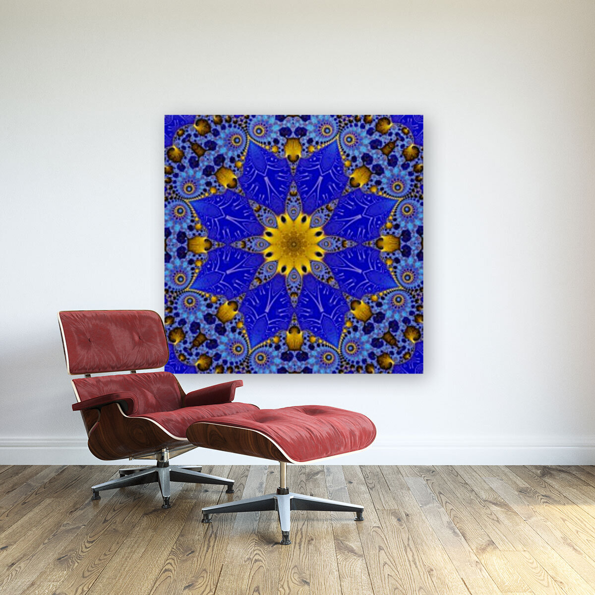 Golden Compass Mandala with Floating Frame