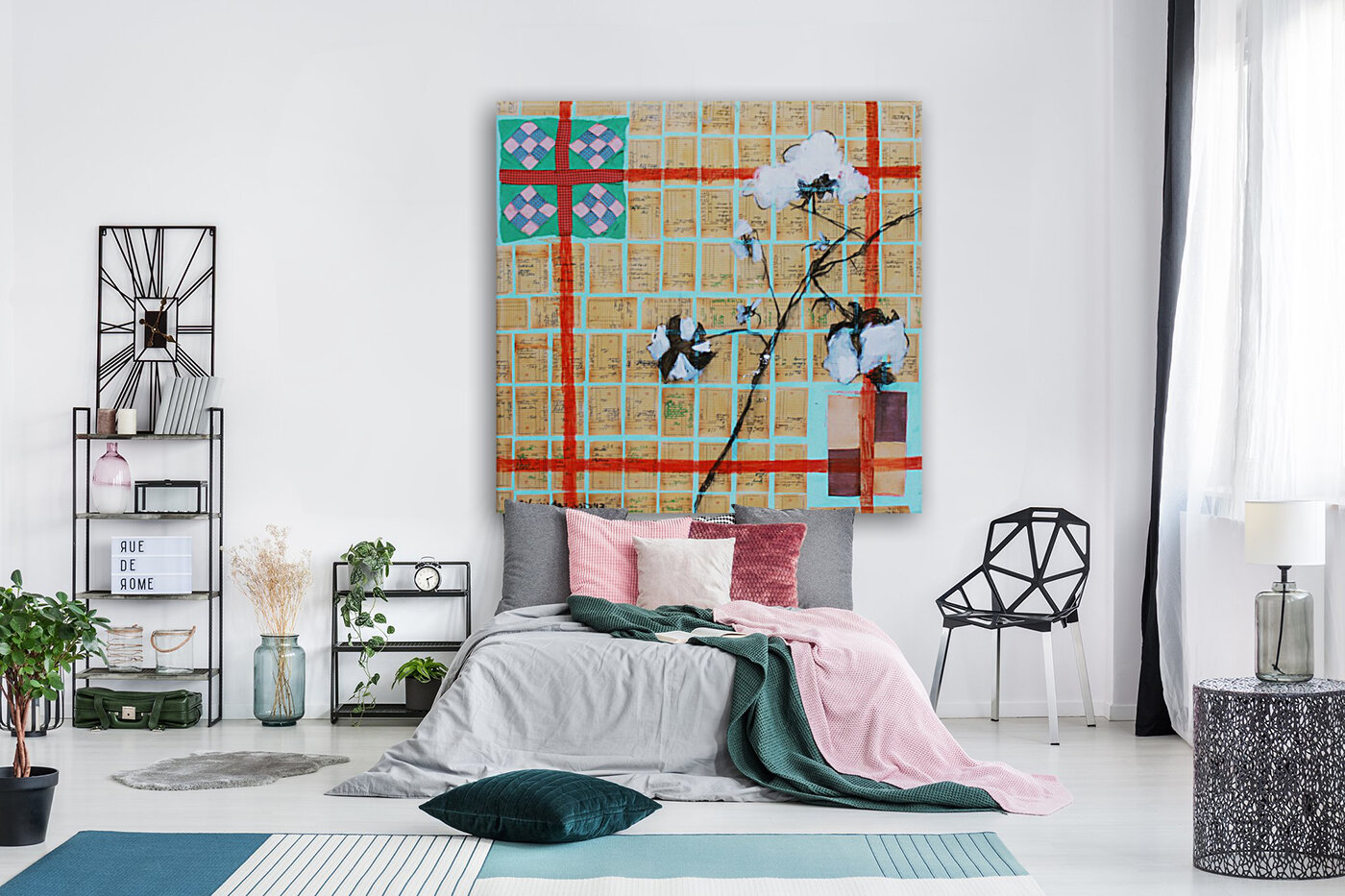 Louisiana Quilt with Cotton  and Vintage Company Store Receipts  Art
