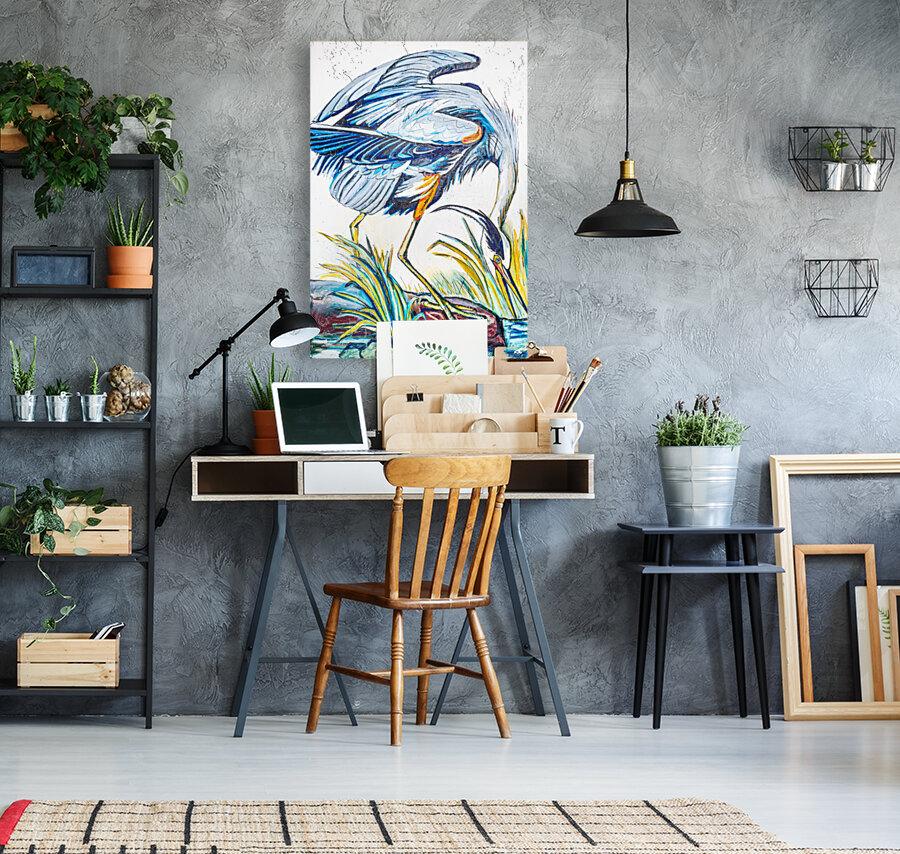 Louisiana Blue Heron Catching Fish- Bright  Art