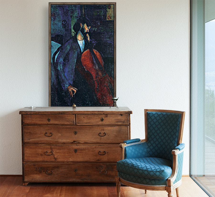 Modigliani - The Cellist with Floating Frame