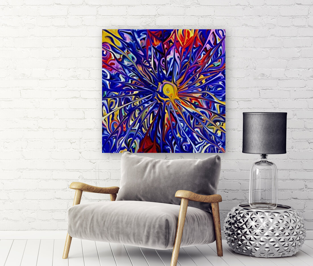 Abstract Rainbow Blue Sun with Floating Frame