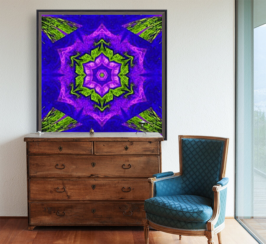 Pink Lotus In Green with Floating Frame