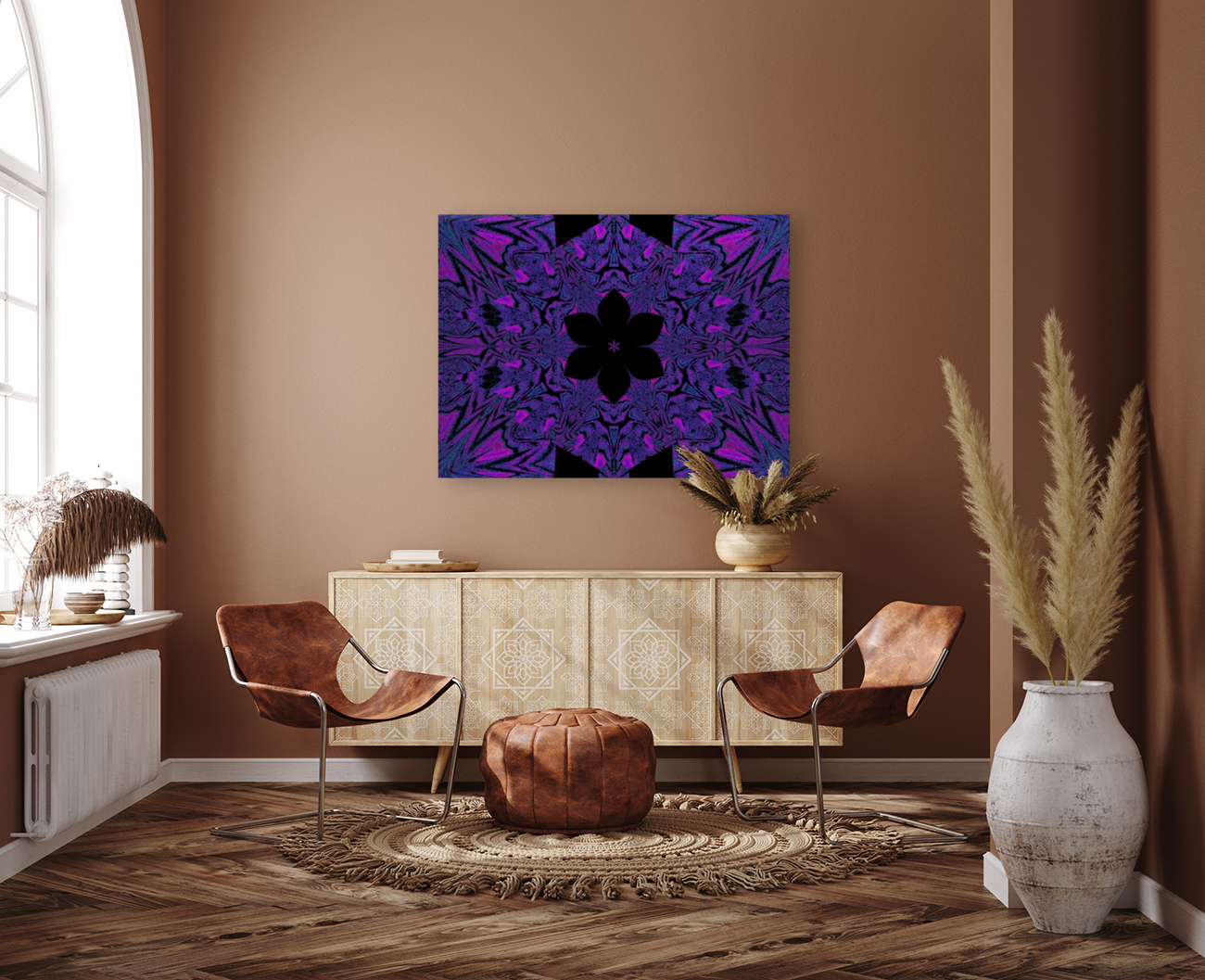 Black Purple Lotus 4 with Floating Frame
