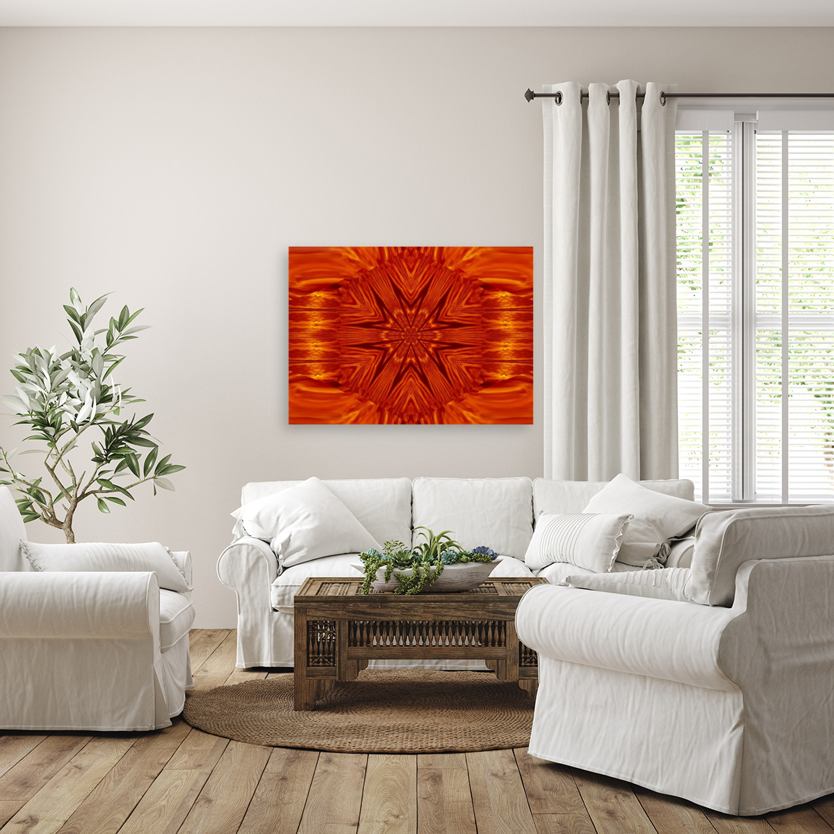 Fire Flowers 204 with Floating Frame
