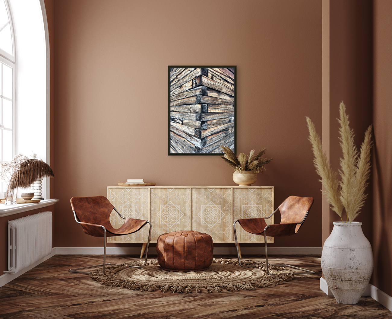 Log wall art  with Floating Frame