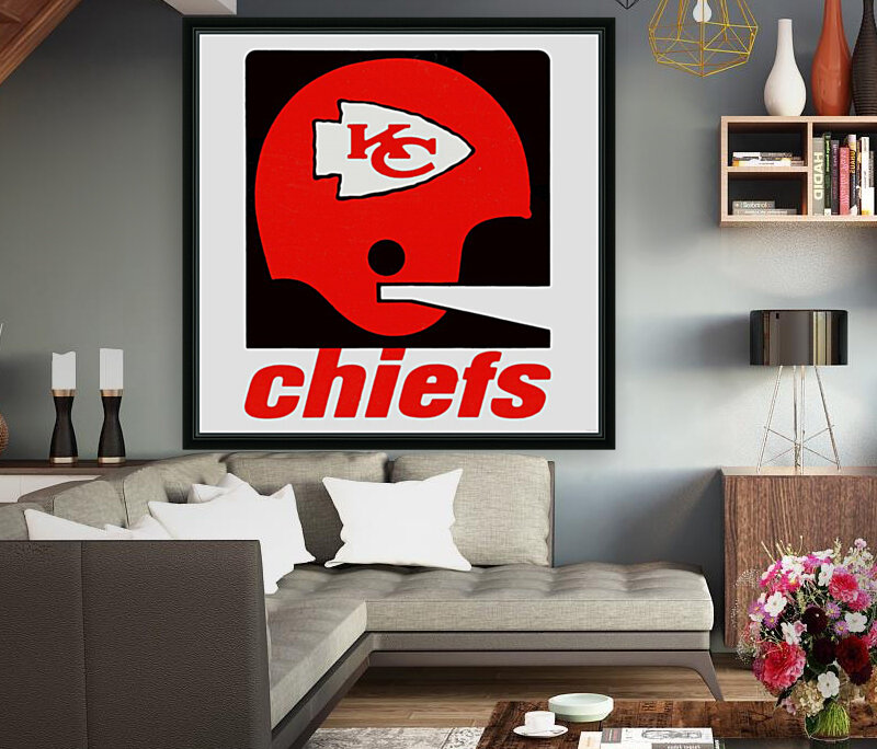 Vintage Kansas City Chiefs Helmet Art with Floating Frame