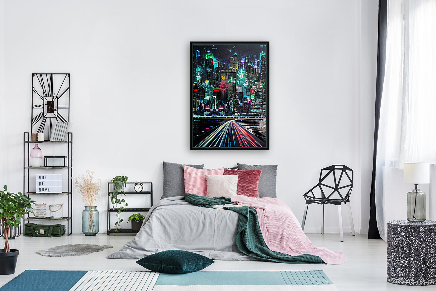 Neon City with Floating Frame