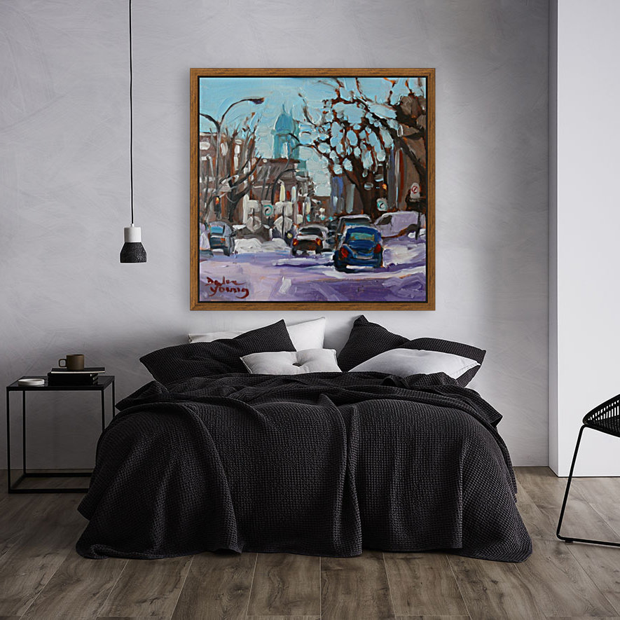 Montreal Winter Scene, Petite Italie with Floating Frame