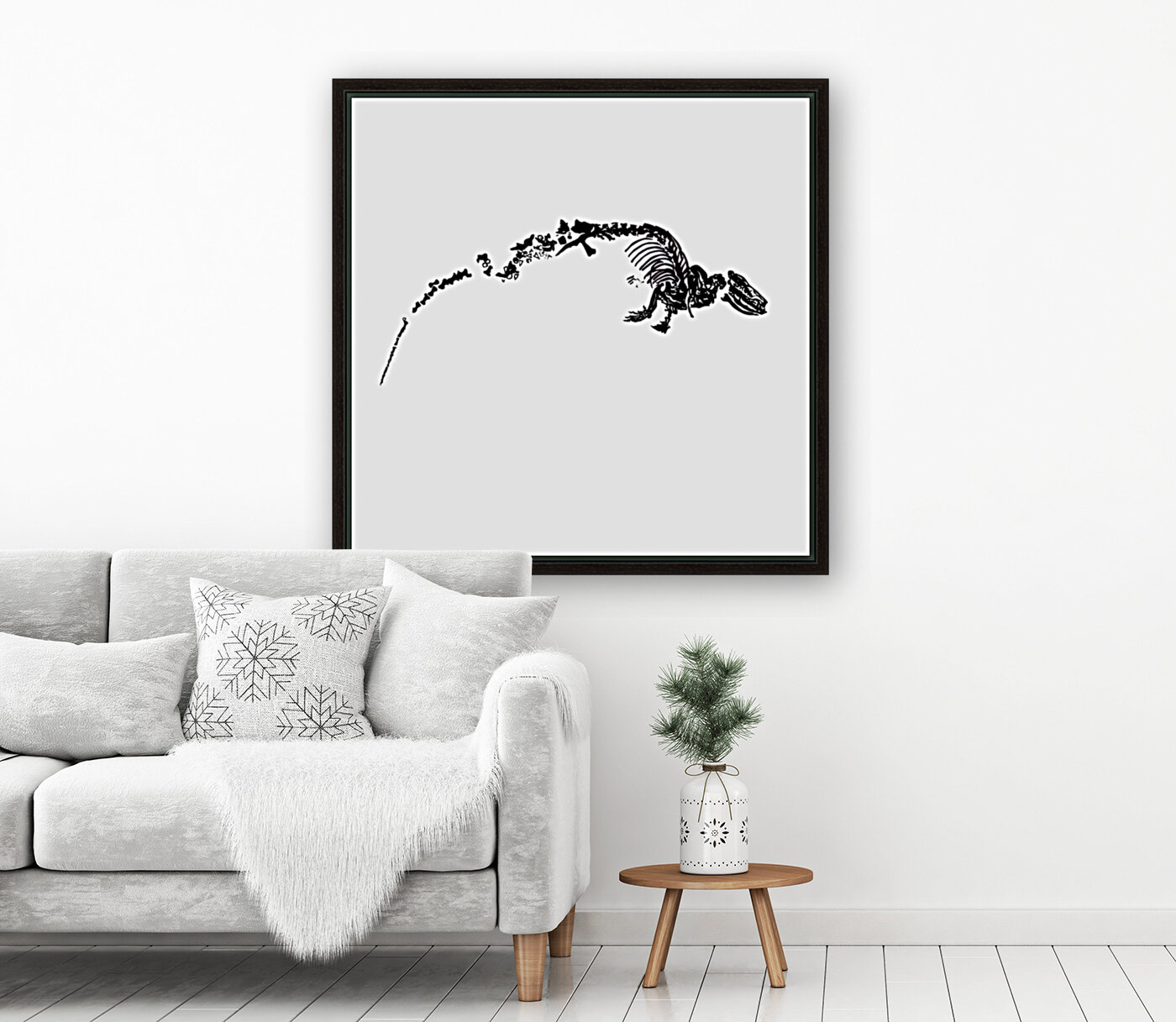 Fossil Dinosaur with Floating Frame